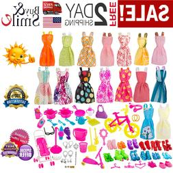 130Pc Doll Clothes Barbie Girl Outfits Huge Lot Gown Dress A