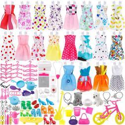 135 Pcs Barbie Doll Clothes Party Gown Outfits Shoes Bags Ne
