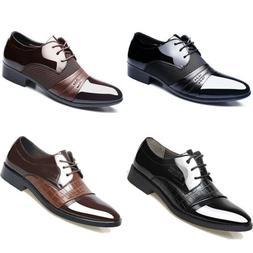 2018 Men Business Dress Formal Oxfords Leather Shoes Flat La