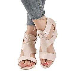 BEUU 2019 New Women Sandals Summer Wedges Retro Casual Shoes