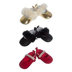 3 Pack Baby Girl Soft Sole Mary Jane Crib Shoes- Baby Girl D