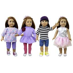 ZITA ELEMENT 4 Sets Doll Clothes Outfits for 18 inch America