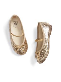5 7 8 BABY GAP Gold GLITTER Ballet Flats Dress Shoes New Tod