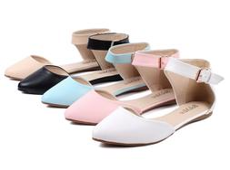 5 Color Fashion Ankle Strappy Point Toe Women Flats Dress Sh