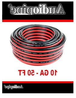 50' AUDIOPIPE 10 GA GAUGE RED BLACK ZIP WIRE SPEAKER CABLE C