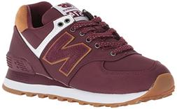 New Balance Womens 574v2 Sneaker, Burgundy/Orange, 6 W US