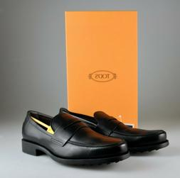 $795 NIB Tod's Black Leather Penny Loafers Slip On's Dress S