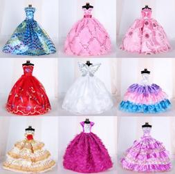 9PCS Barbie Doll Wedding Party Dress Princess Clothes Handma