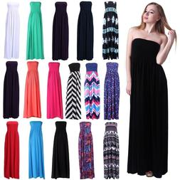 Women's Strapless Maxi Dress Plus Size Tube Top Long Skirt S