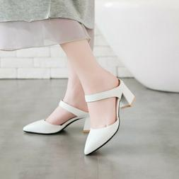 All US Size Women's Pointed Toe Dating Dress Shoes Block Mid