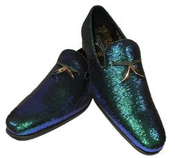 AM 6759 S Mens Dress Loafers Shoes Peacock Blue Green Purple