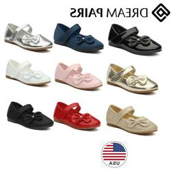 DREAM PAIRS Toddler Girls Kids Flat Shoes Dress Shoes Bow-kn