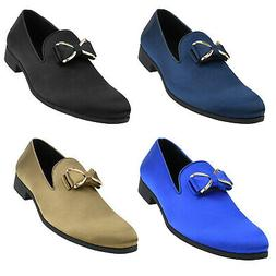 Amali Mens Smooth Satin Smoking Slipper w Bow Dress Shoes Sl