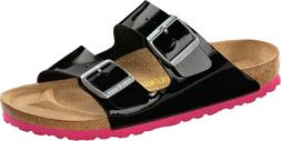 Birkenstock Arizona Birko-Flor Lack Womens Shoes Slides Sand