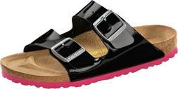 Birkenstock Arizona Birko-Flor Lack Womens Shoes Slides Sand
