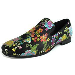 ÃZARMAN Men's Slip On Multi Color Floral Stitching Dress Sh