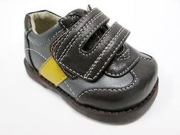 SEE KAI RUN BABY BOYS BROWN GRAY YELLOW LEATHER STRAP DRESS