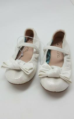 TEVOLIO Baby Girls White Slip On Dress Shoes with Bow Toddle