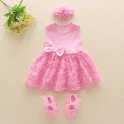 Baby infant clothes girls dress+ headband+ shoes princess bi
