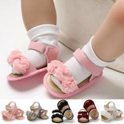 Baby Infant Kid Girl Flat Shoes Soft Sole Crib Flower Sandal