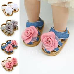 Baby Infant Kid Girl Flat Shoes Soft Sole Crib Flower Sandal