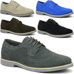 Alpine Swiss Beau Mens Dress Shoes Genuine Suede Wing Tip Br