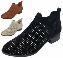 Best Slipon Low Heel Perforated Ankle Booties for Women Girl