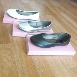 Big kids girls flat ballet dress shoes size 10-4 new