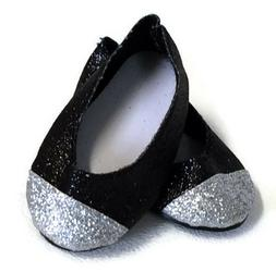 Black & Silver Glitter Dress Shoes made for 18 inch American