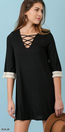 Umgee Black Bohemian Fringe Detail Lattice Neck Knit Dress