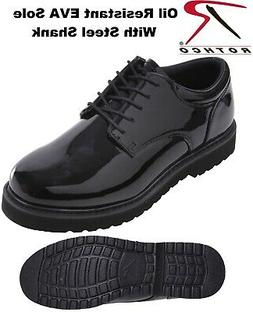 Black Oxford Uniform Shoes Poromeric Leather High Gloss Work