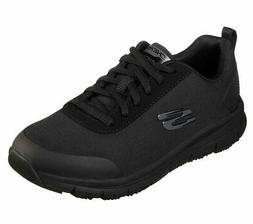 Skechers Black Work Shoe Women Memory Foam Water Stain Slip