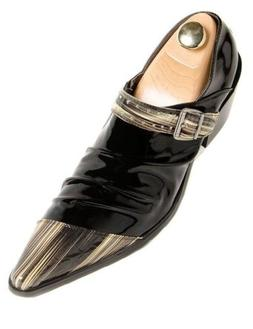 Fiesso Black Yellow Cuban Heel Patent Leather European Inspi