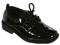 Boys Dress Shoes Black Patent Leather Tuxedo Shoes Square To