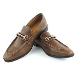 Brown/Cognac Buckle Slip On Moccasins  Men's Dress Fashion S