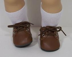 """BROWN Dress Up or Casual Doll Shoes For 15"""" Bitty Baby Boy"""