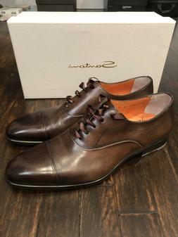 Santoni Brown Leather Wing Tip Cap Toe Oxfords Dress Shoes M