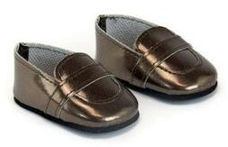 """Brown Loafer Dress Shoes Boy made for 18"""" American Girl Doll"""