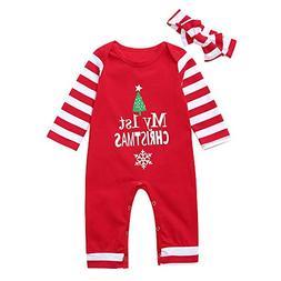 Baby Christmas Jumpsuit Newborn Boys Girls My First Christma