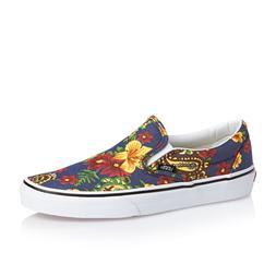 VANS Classic Slip On  Dress Blues Floral Skate Shoes WOMEN'S