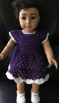 Handmade Crochet Dress, Panties & Shoes for 18 inch American