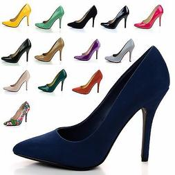 Date Classic High Heel Pointed Pointy Toe Dress Plain Pump,