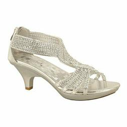 Delicacy Womens Angel-37 Strappy Rhinestone Dress Sandal Low
