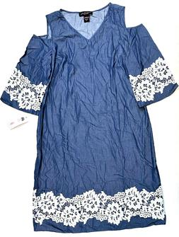 denim and lace cold shoulder dress blue