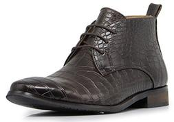 Enzo Romeo DF2 Men's Dress Boots Alligator Crocodile Print C