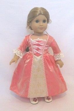 """Doll Clothes 18"""" Doll Colonial Dress Slip Hat Shoes Fits AG"""