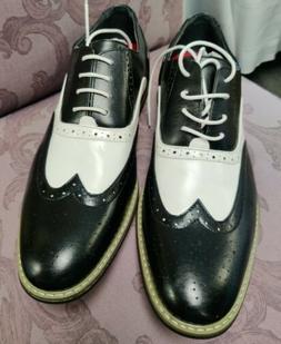 Enzo Romeo Wooden 08 Wing Tip Dress Shoes Black White Tuxedo