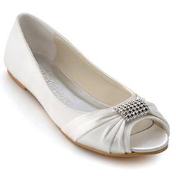 ElegantPark EP2053 Women Peep Toe Rhinestones Comfort Flats
