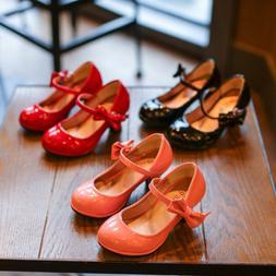 Fashion High-heeled Kids Girls Dress Shoes Princess Shoes fo