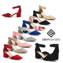 DREAM PAIRS Women's Ankle Strap Pump Shoes Chunky Low Heel W